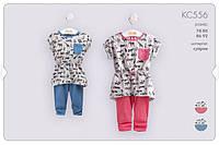 Летний костюм туника+лосины для девочки. КС556