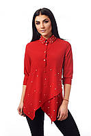 Яркая женственная стильная блуза с жемчугом.
