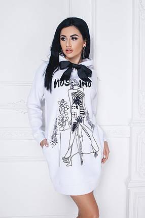"""Теплое молодежное платье-тунка """"MOSCINO"""" с капюшоном и карманами (3 цвета), фото 2"""