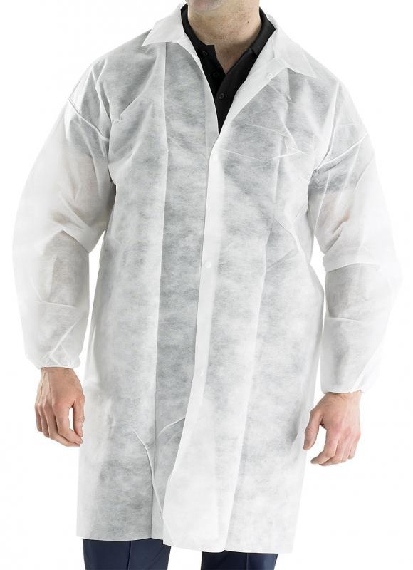 Нетканый халат на кнопках общего назначения (белый) с карманами 30 г/м2 (Medicom)