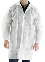 Нетканый халат на кнопках общего назначения (белый) с карманами 30г/м2 (Medicom)