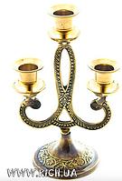Подсвечник латунный на три свечи 18,5 см , фото 1