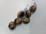 Серьги с тигровым глазом. Серьги с натуральным камнем тигровый глаз в серебре. Индия!, фото 3