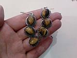 Серьги с тигровым глазом. Серьги с натуральным камнем тигровый глаз в серебре. Индия!, фото 2