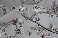 Ткань супер софт нежные ромашки на сером, фото 1