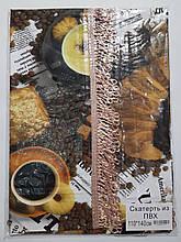 Клеенчатая скатерть с бахромой на кухонный стол 80х130см (кофе)