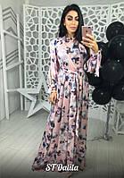 Шёлковое длинное платье (4 цвета), фото 1