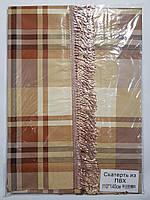 Клеенчатая скатерть с бахромой на кухонный стол 80х130см (клетка)