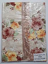 Клеенчатая скатерть с бахромой на кухонный стол 80х130см (цветы)