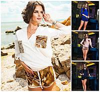 Костюм блуза с шортами пайетки 16022