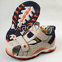 Босоножки, сандалии для мальчика бежевые кожа Clibee 27р.