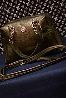 Женская сумка горчичный с брелком