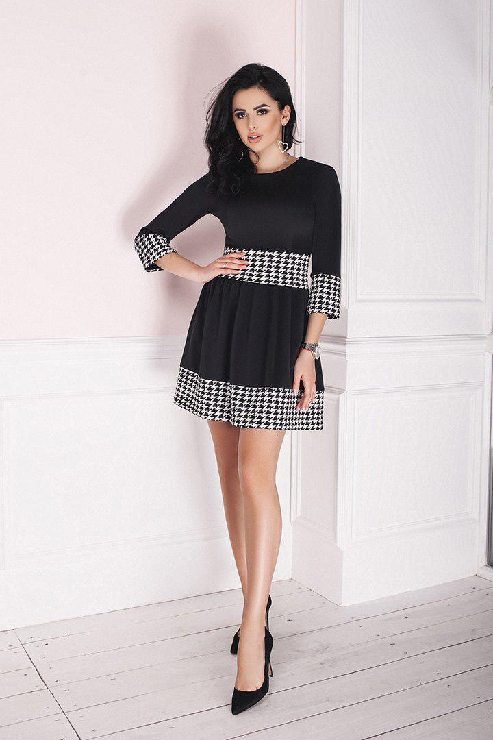 """Приталенное мини-платье дайвинг """"Abigail"""" с расклешенной юбкой (2 цвета)"""