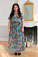 Легкое длинное платье больших размеров Фанни бабочки 54