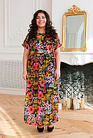 Темное шифоновое платье для полных женщин Фанни 54