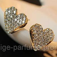 Серьги-гвоздики Сердечки 💛 с кристаллами Swarovski Flaviano Silviani (Италия 🇮🇹) - позолота