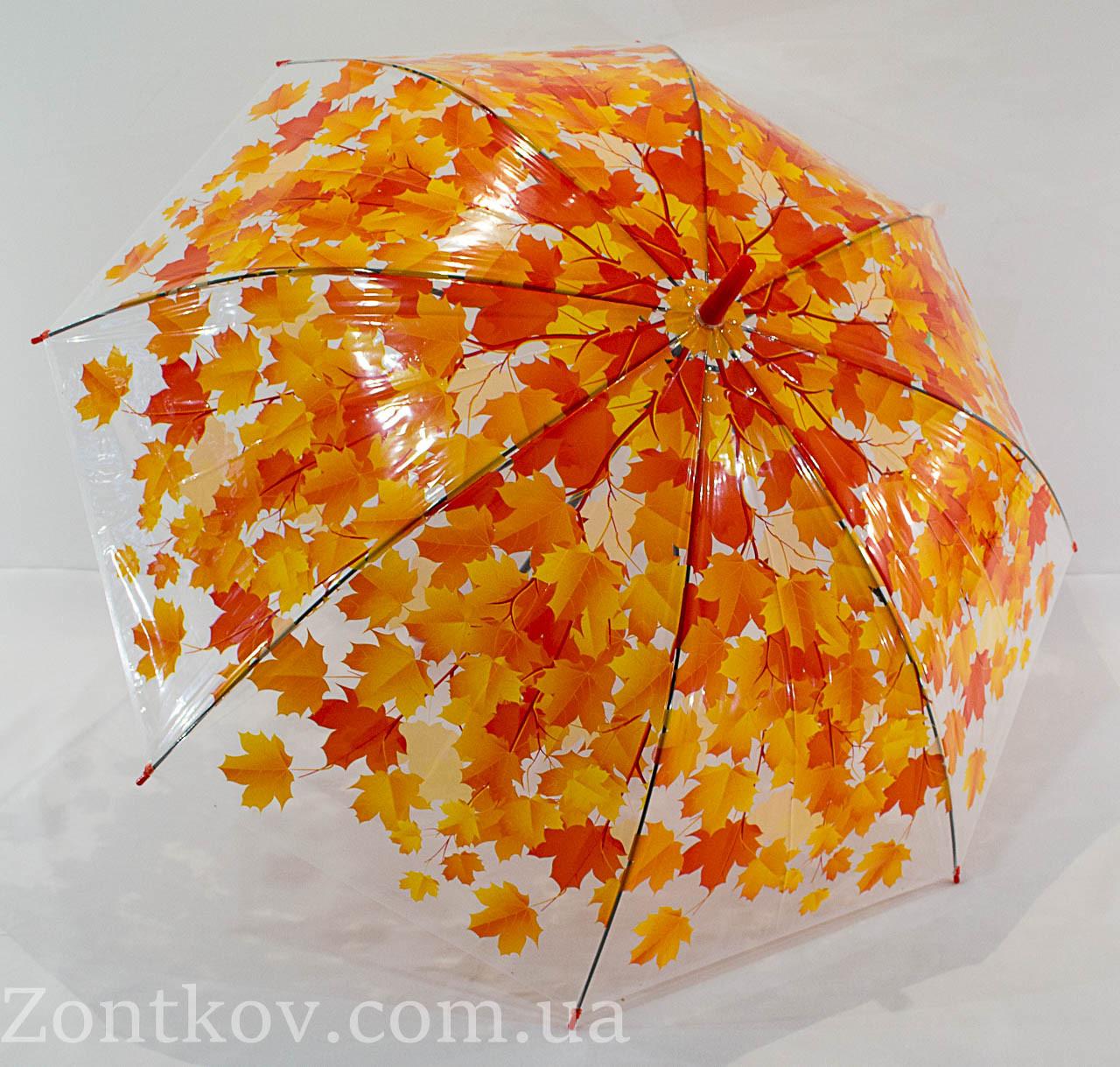 """Прозрачный зонтик трость с листьями от фирмы """"Fiaba"""""""