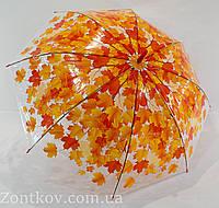 """Прозрачный зонтик трость с листьями от фирмы """"Fiaba"""", фото 1"""