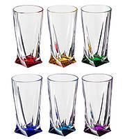 Quadro Color Набор стаканов высоких 6 штук 350мл d8 см h14,5 см богемское стекло Bohemia