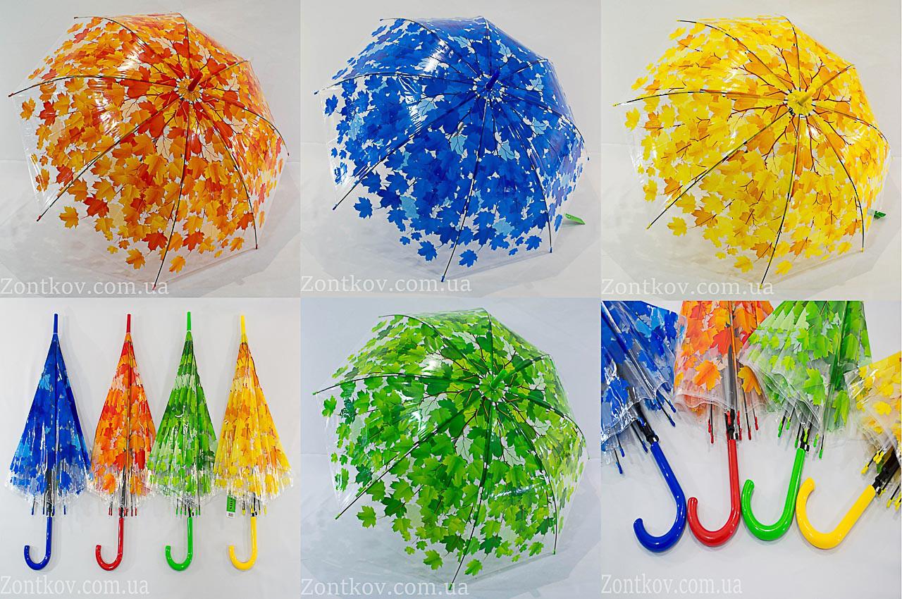 Прозрачный зонтик трость с листьями оптом