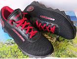 Jordan! летние черные с красным мужские или для подростка кроссовки в стиле Джордан сетка кожа, фото 2