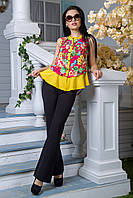 Яркая блуза Дакиня принт малина (M,L,XL,XXL)