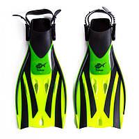 Ласты для плавания детские с открытой пяткой регулируемые Dolvor F52JR размер 32-35 лимонные