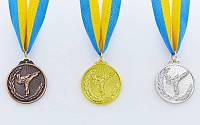 Медаль спортивная с лентой Каратэ d-5см  1-золото, 2-серебро, 3-бронза (металл, d-5см, 25g), фото 1