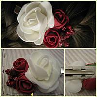 Заколка-роза для волос из фоамирана, украшение для волос, 6см.