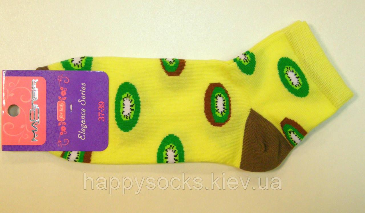 """Яркие заниженные носки в яркий рисунок """"киви"""" лимонного цвета"""