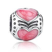 "Шарм Pandora Style (стиль Пандора) ""Розовые сердца"""