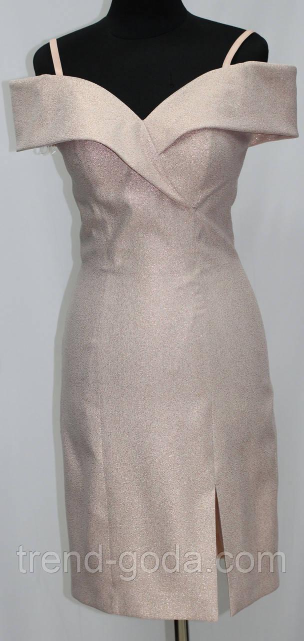 Платье вечернее с открытыми плечами, светло-персиковое с блестками, Турция