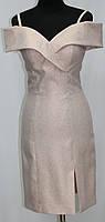 Платье вечернее с открытыми плечами, светло-персиковое с блестками, Турция, фото 1