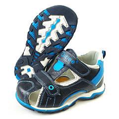 Босоножки сандалии для мальчика кожа 26р.,-31р. черные с синим Clibee 3274
