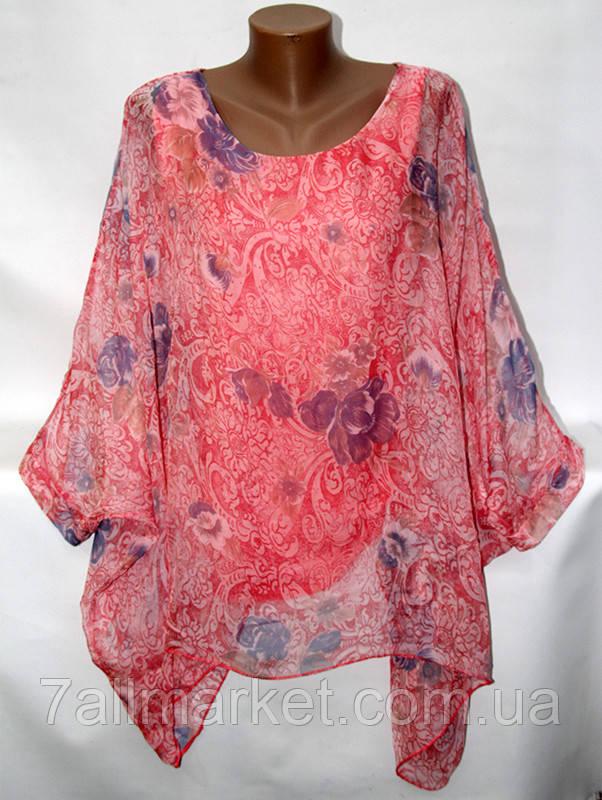 """Блузка женская с цветочным принтом размер 48-54 (4 цвета) """"ITALIA"""" купить оптом в Одессе на 7 км"""