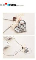 Серебряное сердечко с шариками на цепочке