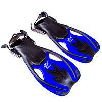 Ласты для плавания детские с открытой пяткой регулируемые Dolvor F89JR размер 34-38 синие