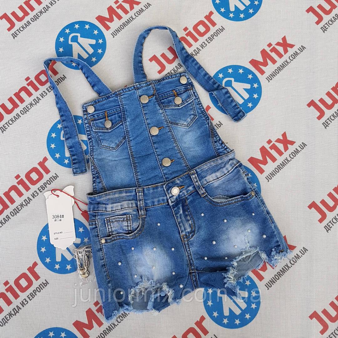 Подростковые джинсовые шорты- комбинезоны для девочек  оптом