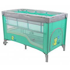 Складной манеж-кровать Baby Mix HR-8052-2 2х-уровневый mint
