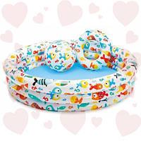 Intex 59469 (132х28 см) Надувной бассейн Рыбки с мячиком и кругом