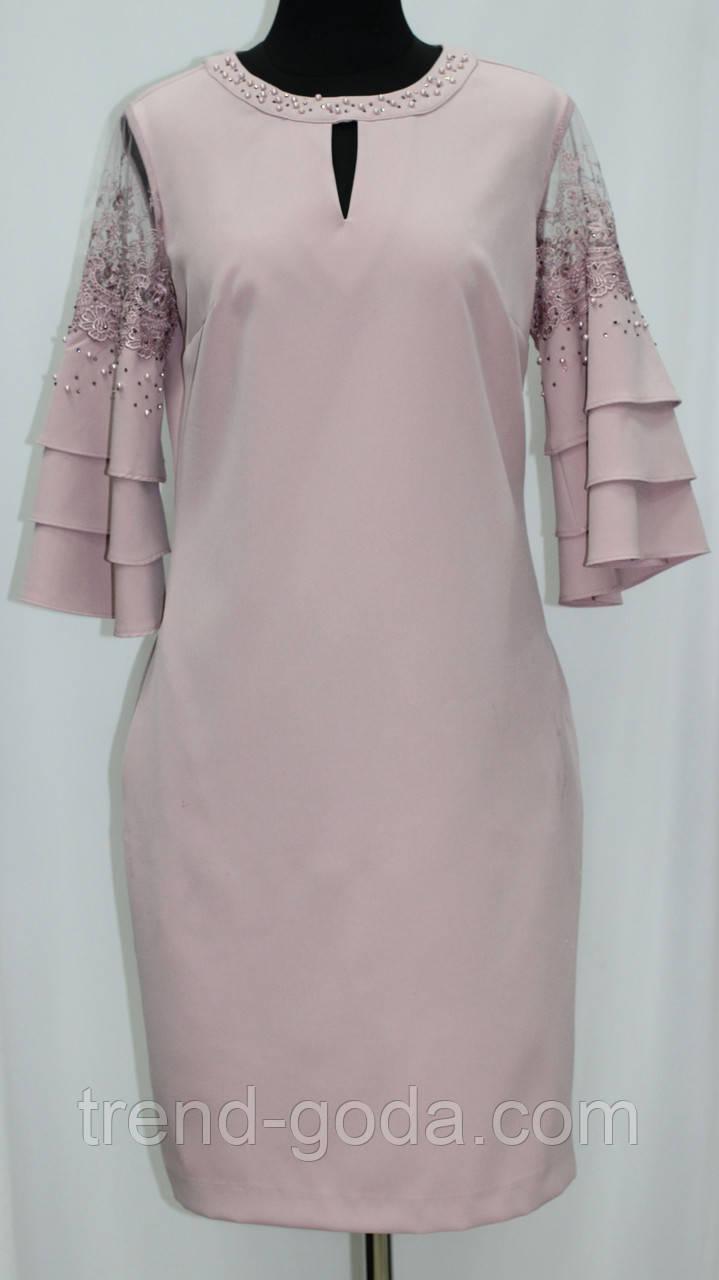 Платье нарядное светло-розовое с бусинками, рукав воланы, Турция