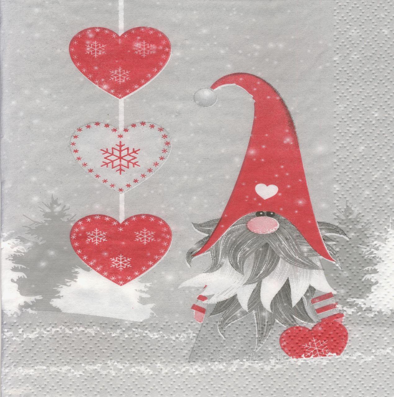 Декупажная салфетка Влюблённый гном 7281
