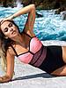 Сплошной женский купальник нежно розовый цвет