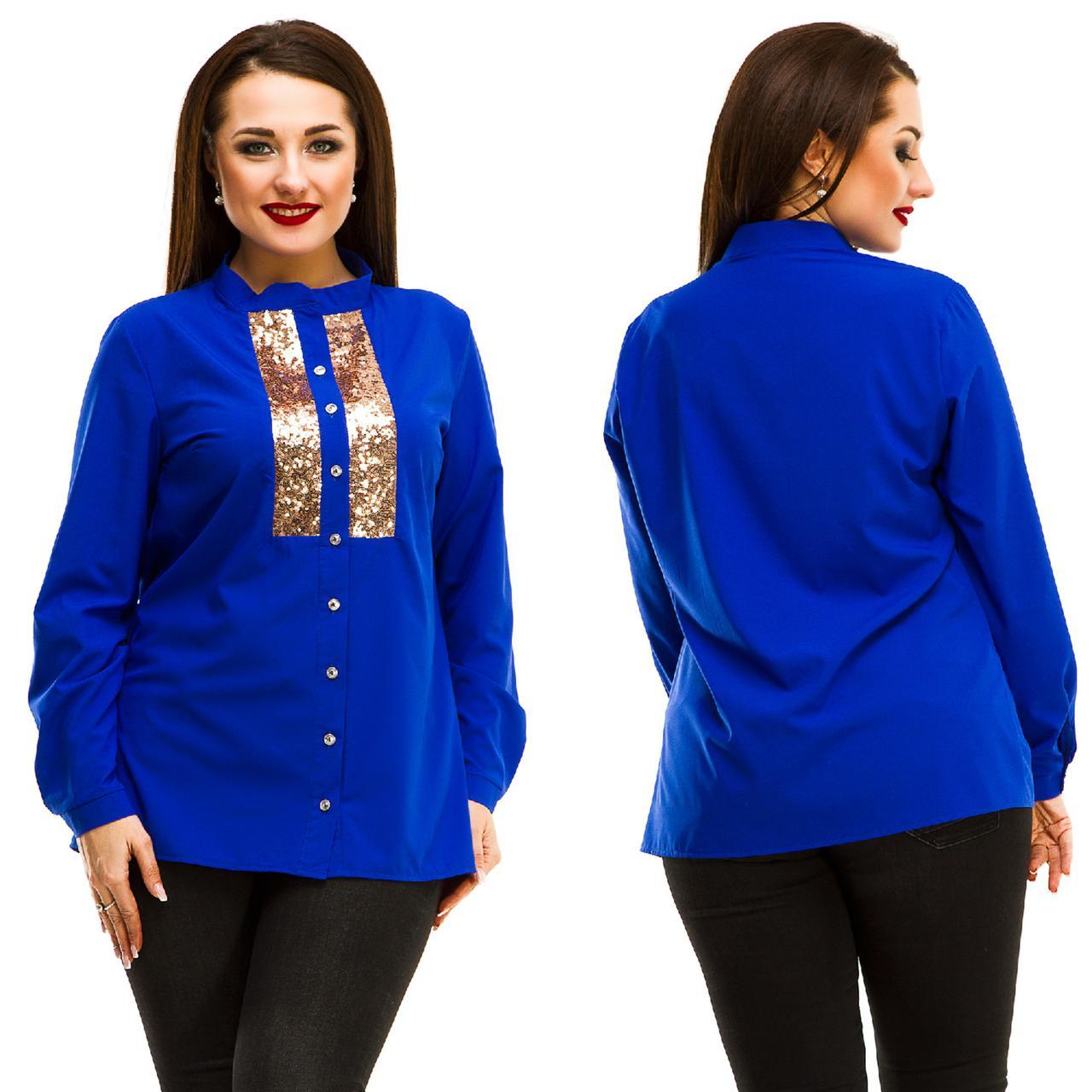 Блуза БАТАЛ  вставки пайетки 36/5046