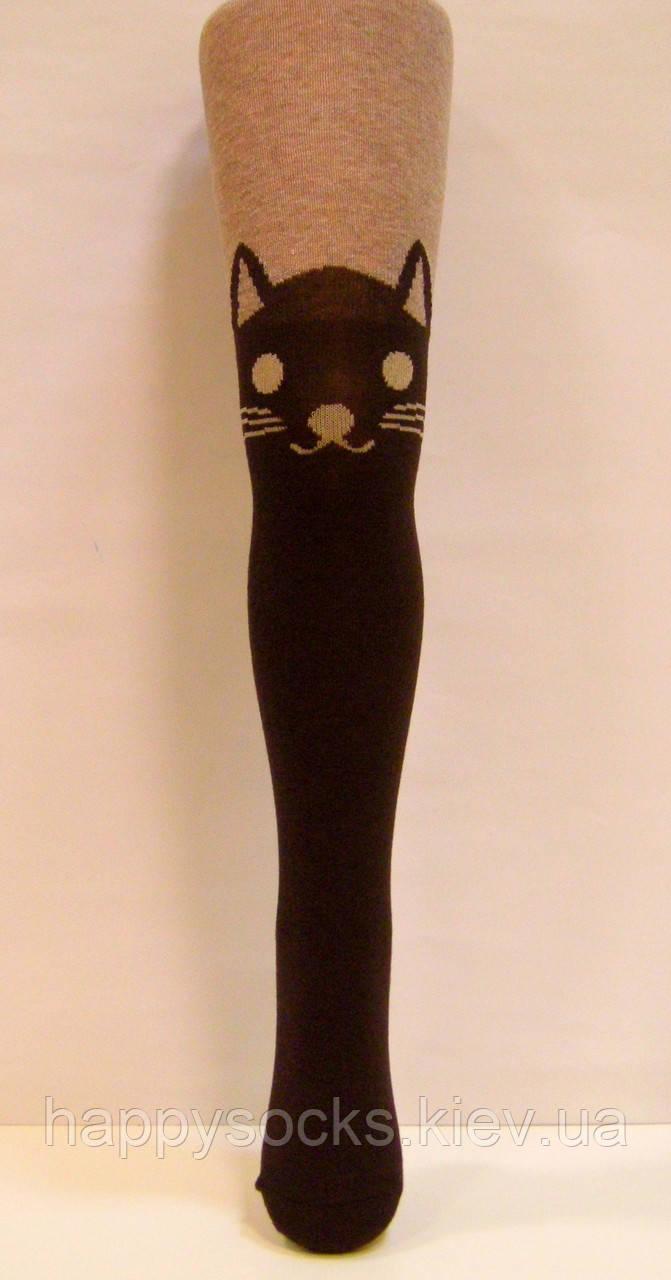 Хлопковые колготки для девочек с рисунком кофейные с коричневым котом