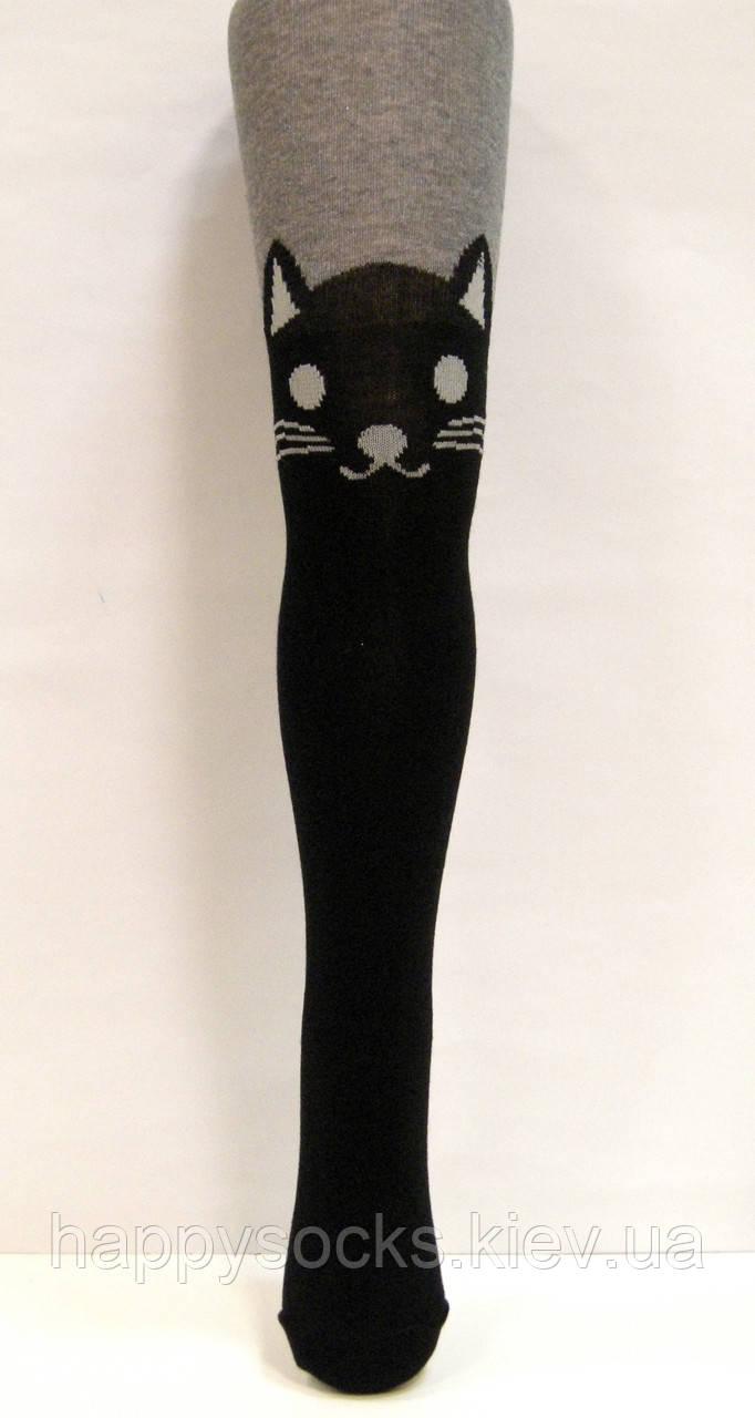 Детские колготки-ботфорты темно-серые с черным котом
