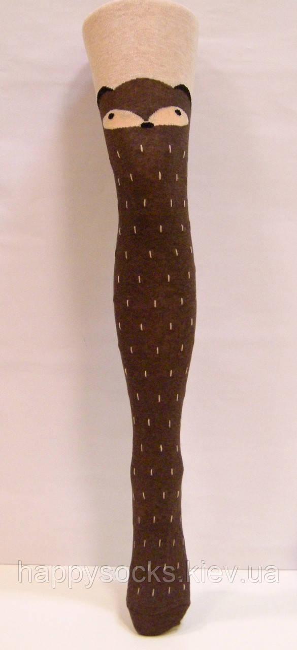 Колготки бежевые с коричневой лисичкой для девочек с имитацией чулков