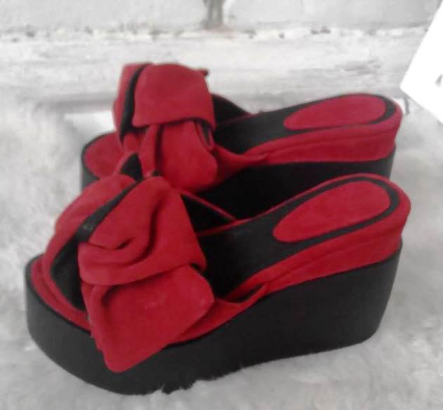 Сабо Star Банты! Босоножки женские красные замшевые шлепанцы на  платформе