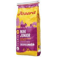 Josera MiniJunior 15 кг - беззерновой корм с уткой для для щенков с 3-х недель мелких пород