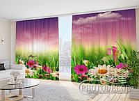 """3D Фото Штори """"Польові квіти ромашки"""" 2,7 м*2,9 м (2 полотна по 1,45 м), тасьма"""